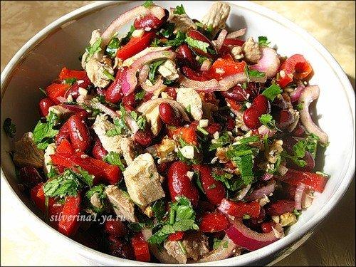 Салат из фасоли консервированной с говядиной